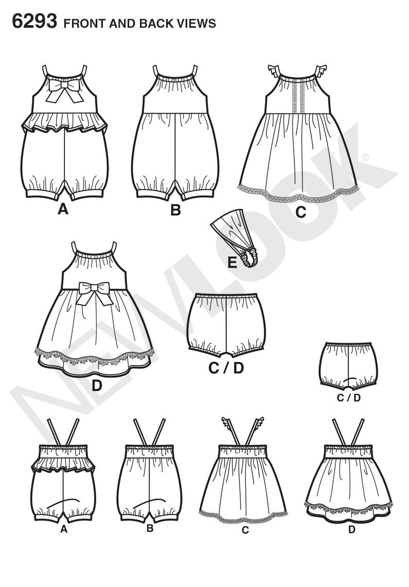 New Look Sewing Pattern 6293 | Babies' Playsuit, Dress, Panties & Headband