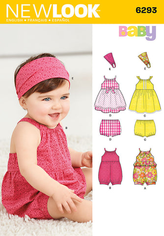 NL6293 Babies' Playsuit, Dress, Panties & Headband