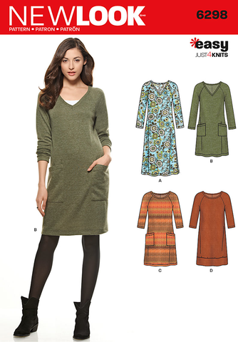 NL6298 Misses' Knit Dress with Neckline & Length Variations