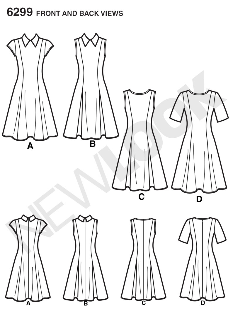 NL6299 Misses' Dress with Neckline & Sleeve Variations