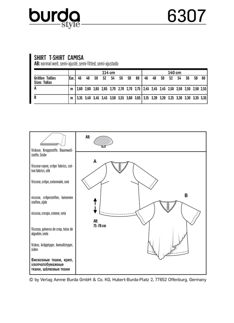 BD6307 Women's asymmetric top sewing pattern