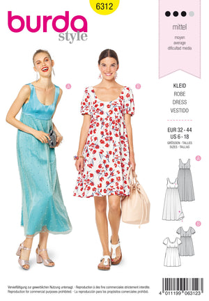BD6312 Ballet neckline dress sewing pattern