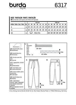 BD6317 Misses' Jogging pants sewing pattern from Jaycotts Sewing Supplies