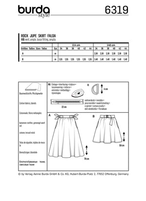 BD6319 Bell shaped skirt sewing pattern