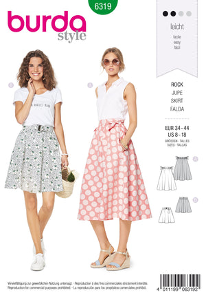 BD6319 Bell shaped skirt sewing pattern from Jaycotts Sewing Supplies