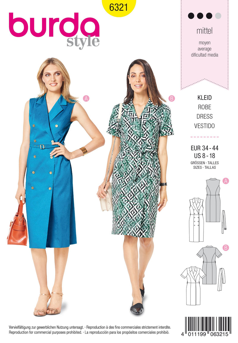 BD6321 Dress with lapels sewing pattern from Jaycotts Sewing Supplies