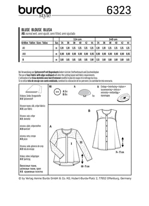 BD6323 Blouse with yoke sewing pattern from Jaycotts Sewing Supplies