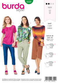 BD6329 Raglan top sewing pattern from Jaycotts Sewing Supplies