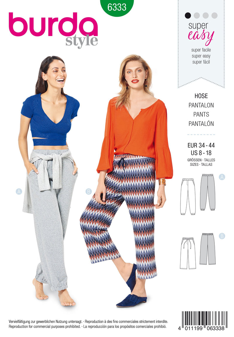 BD6333 Misses' jogging pants sewing pattern from Jaycotts Sewing Supplies
