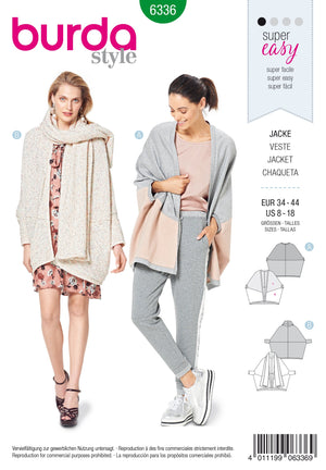 BD6336 Misses' Over-sized Jacket sewing pattern
