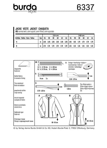 BD6337 Misses' quilted jacket sewing pattern
