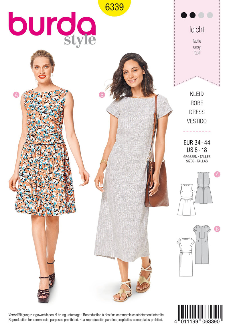 BD6339 Dresses with waistband sewing pattern from Jaycotts Sewing Supplies