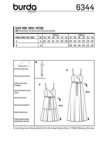 BD6344 Misses' wrap dress sewing pattern