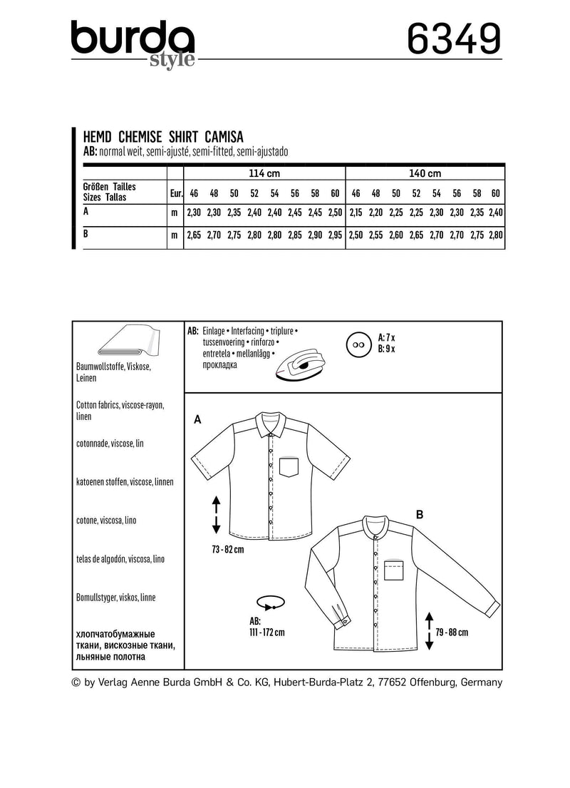 BD6349 Men's Shirt Sewing pattern from Jaycotts Sewing Supplies