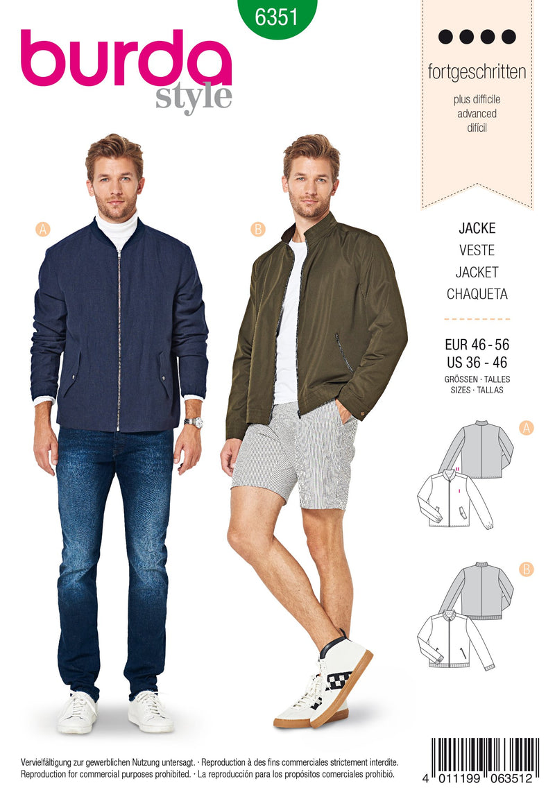 BD6351 Men's jacket sewing pattern