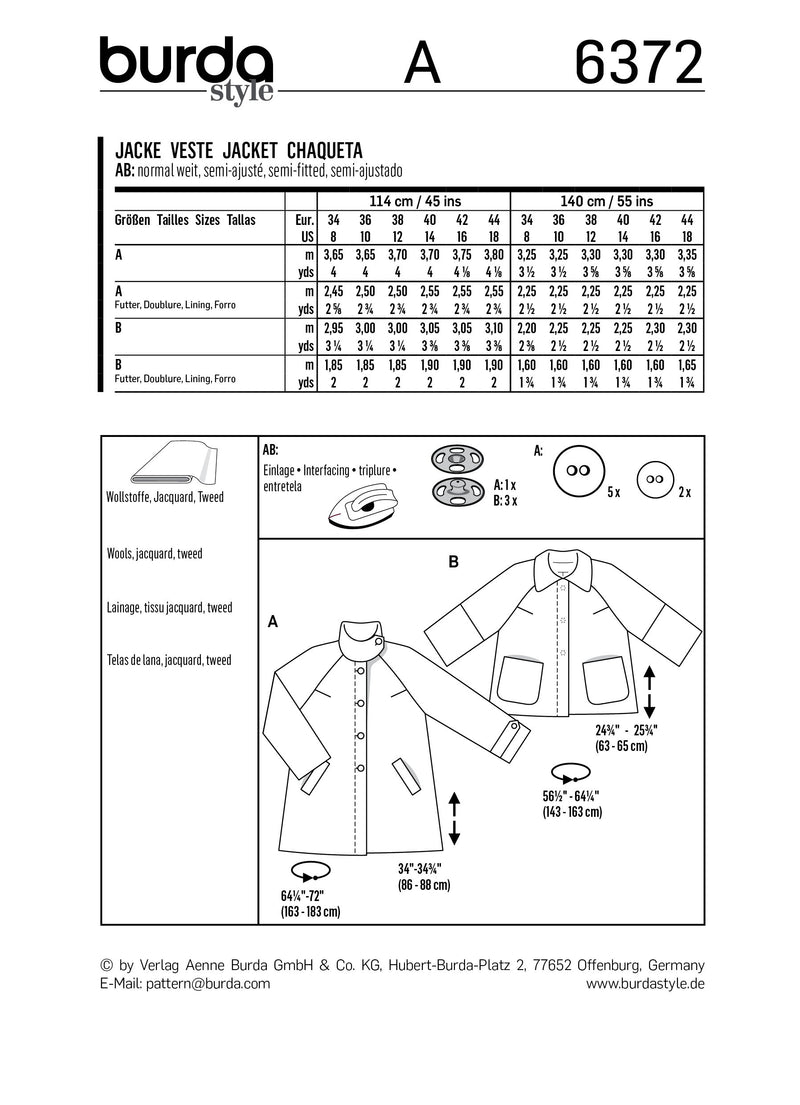 BD6372 Women's Jacket Pattern