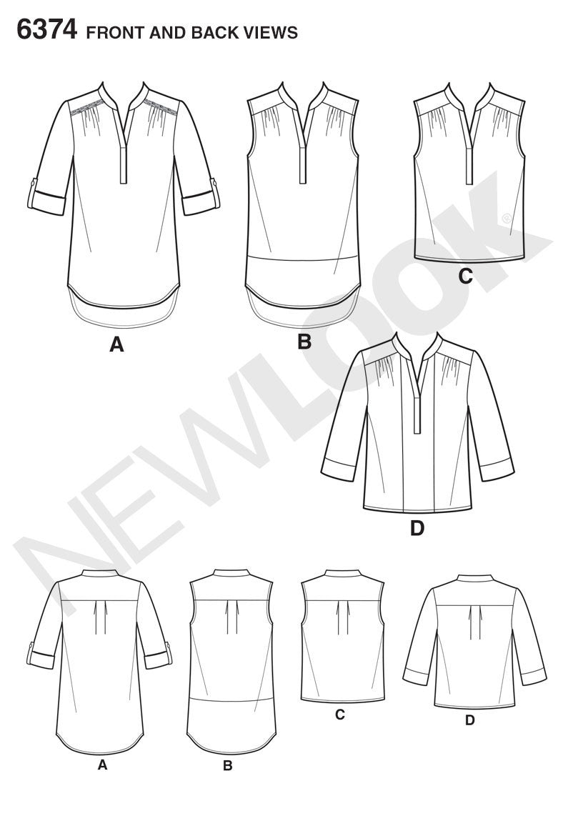 NL6374 Misses' Shirts with Sleeve and Length Options