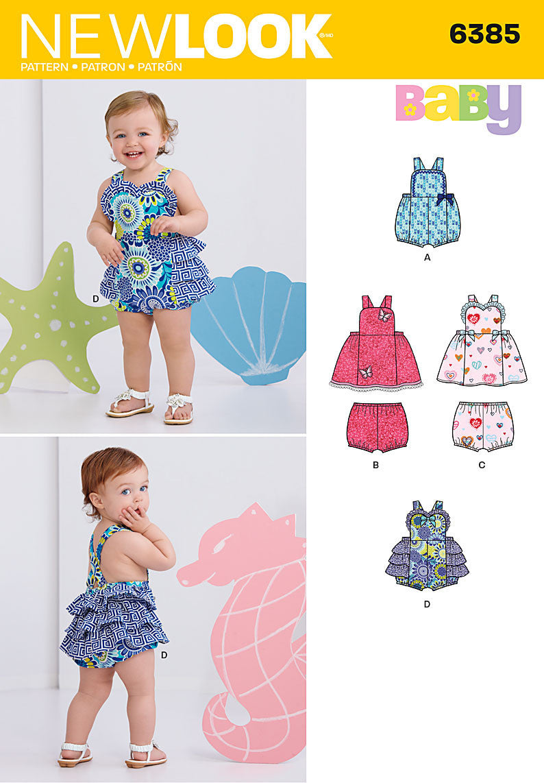 NL6385 Babies' Dress, Romper and Panties