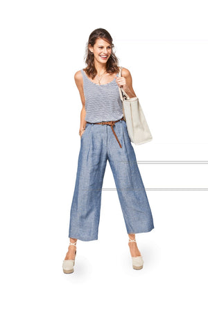 BD6436 Women's Wide Leg Trousers Pattern
