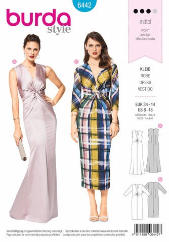 BD6442 Evening Dress Pattern | V Neck