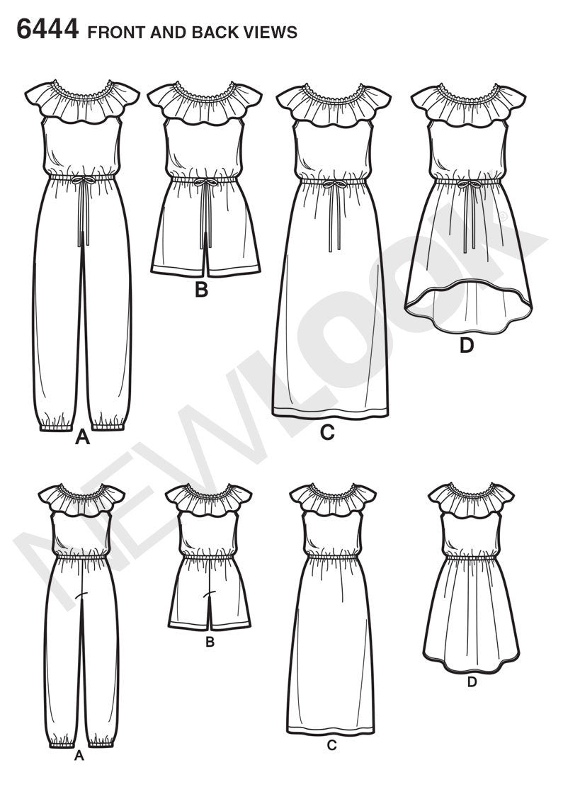 NL6444 Girl's Dress and Jumpsuit in Two Lengths from Jaycotts Sewing Supplies