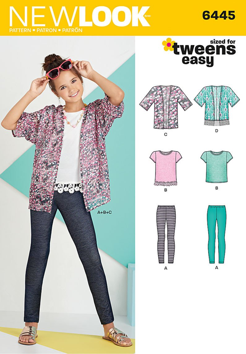 NL6445 Easy Girl's Kimono, Knit Top and Leggings