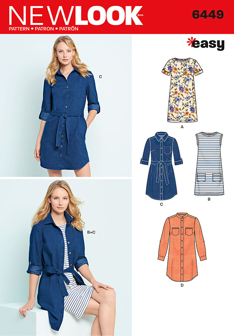 NL6449 Misses' Easy Shirt Dress and Knit Dress