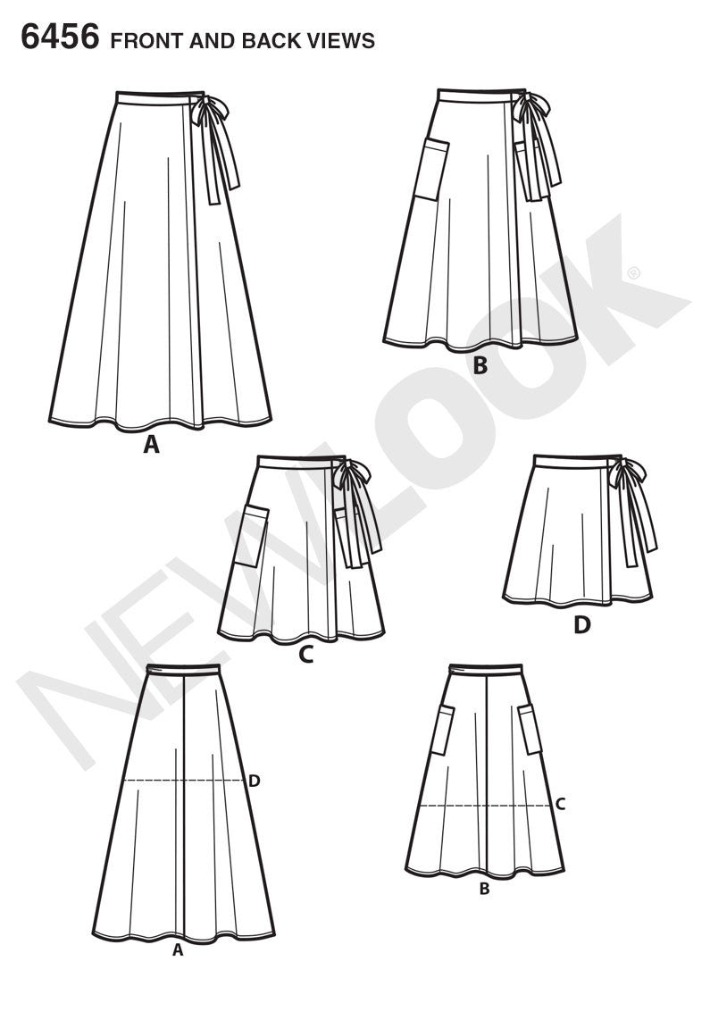 NL6456 Misses' Easy Wrap Skirts in Four Lengths