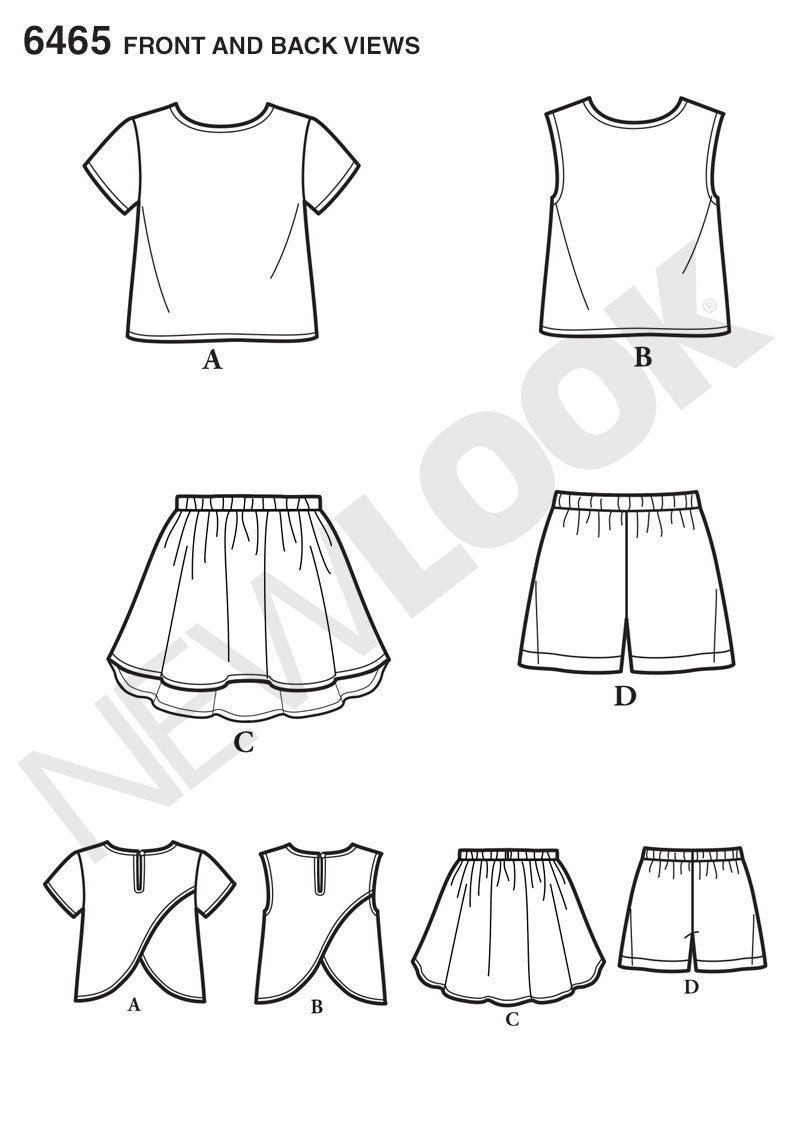 NL6465 Child's Easy Top, Skirt and Shorts