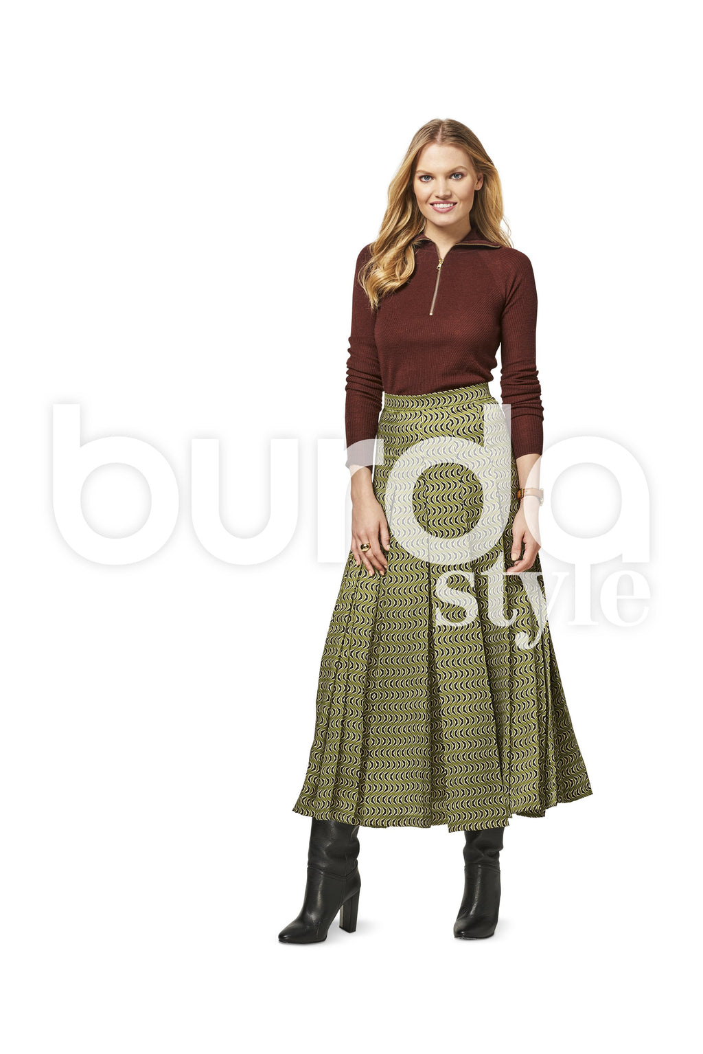 BD6466 Women's Pleated Skirt | Burda Style Pattern
