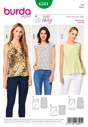 Burda Style Pattern BD6501 Misses' Top with Flounce
