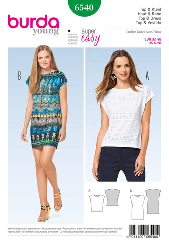 Burda Style Pattern BD6540 Misses' Top and Dress