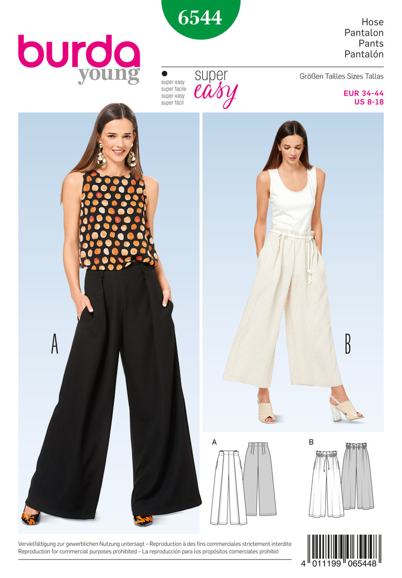 Burda Style Pattern BD6544 Misses' Pants