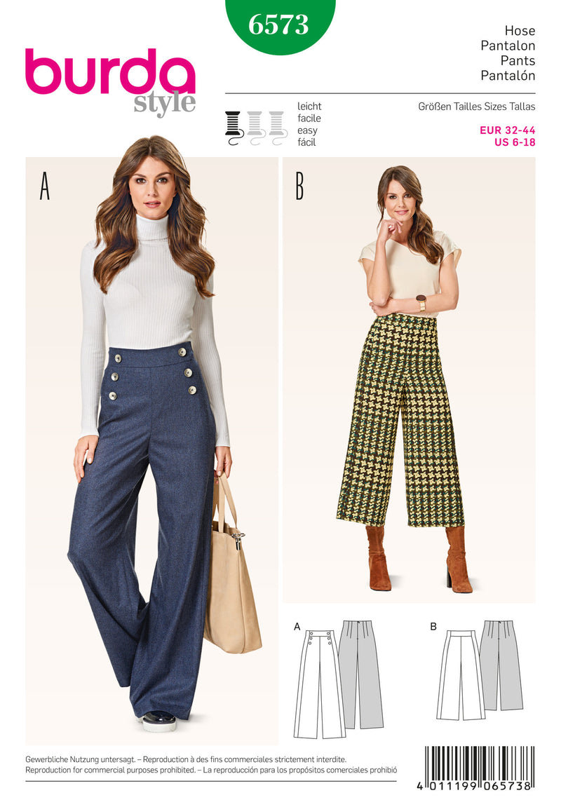 BD6573 Burda Style Pattern 6573 Trousers from Jaycotts Sewing Supplies