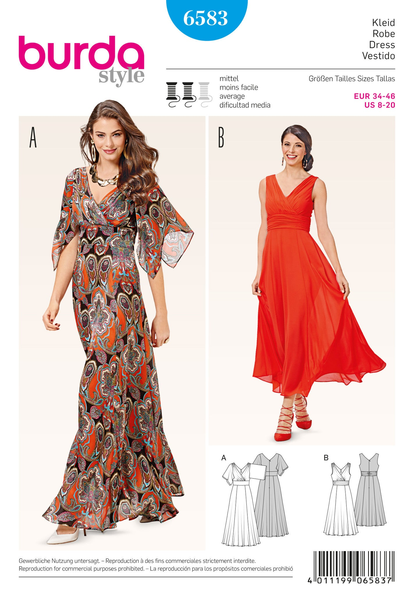 BD6583 Burda Style Pattern 6583 Dress