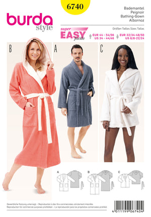 BD6740 Bath Robes from Jaycotts Sewing Supplies