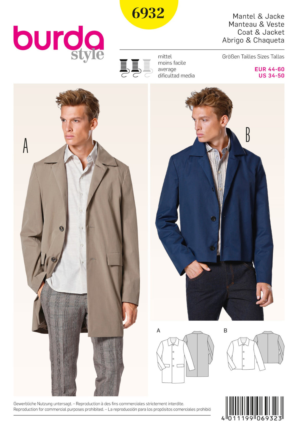 BD6932 Men's Coat & Jacket | Average from Jaycotts Sewing Supplies