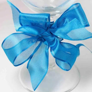 Wired Edge Organza Ribbon | Malibu Blue  | 25m roll