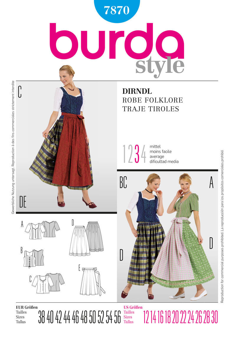 BD7870 Dirndl Dress from Jaycotts Sewing Supplies