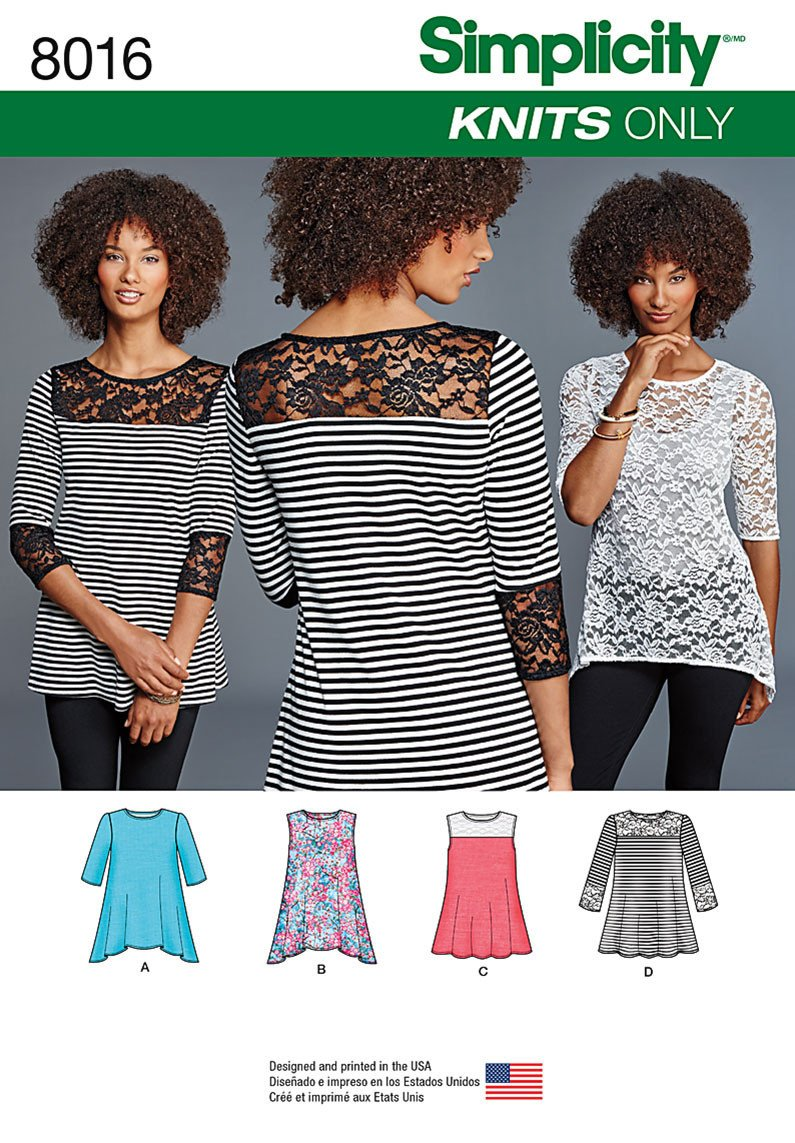 S8016 Misses' Knit Tops with Lace Variations