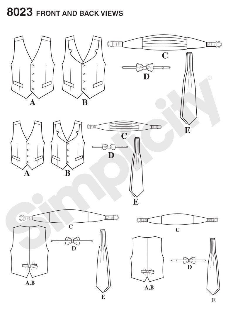 Simplicity Pattern 8023 Boy's and men's special occasion accessories