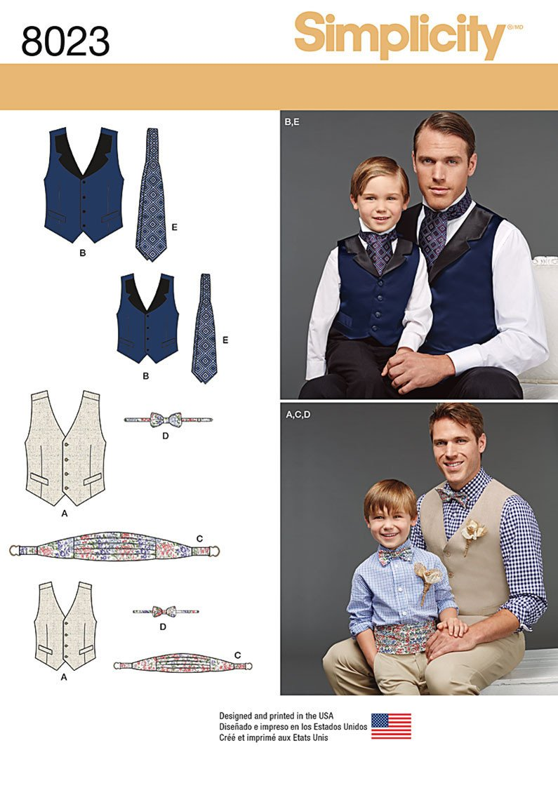 S8023 Boys' and Men's Vest, Bow-tie, Cummerbund and Ascot