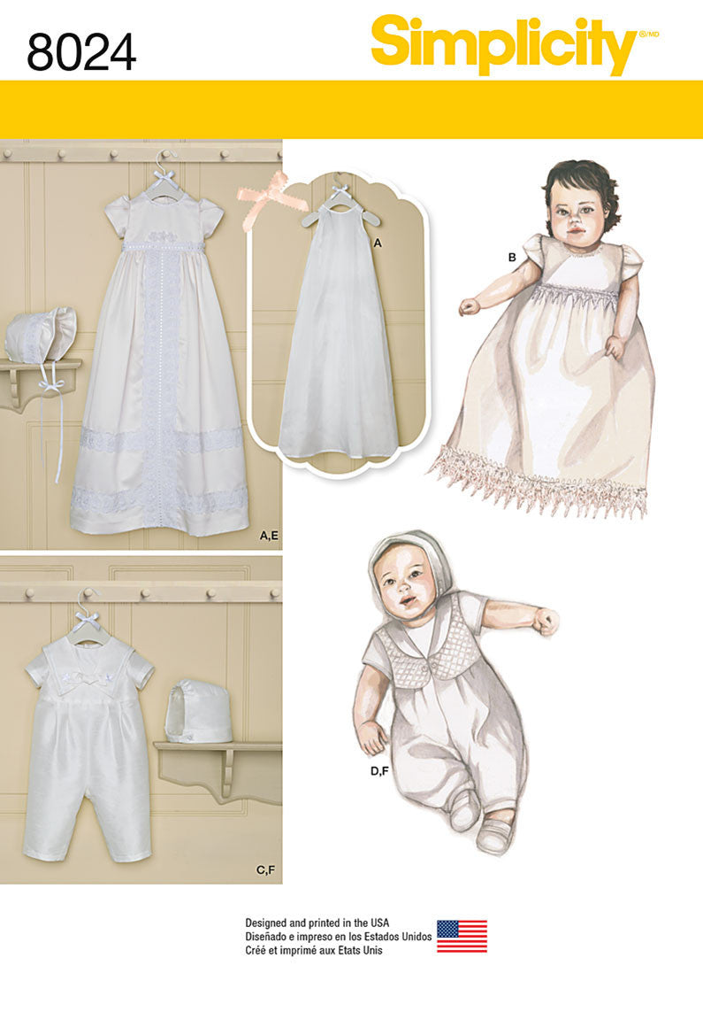 Simplicity Pattern 8024 classic christening gowns from Jaycotts Sewing Supplies