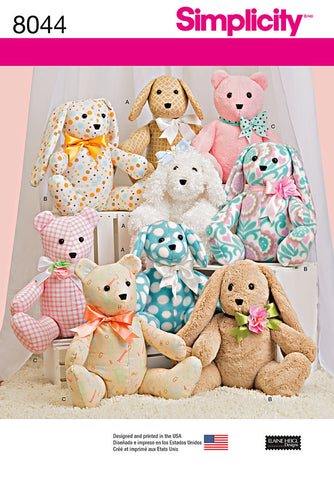 S8044 Two-Pattern Piece Stuffed Animals