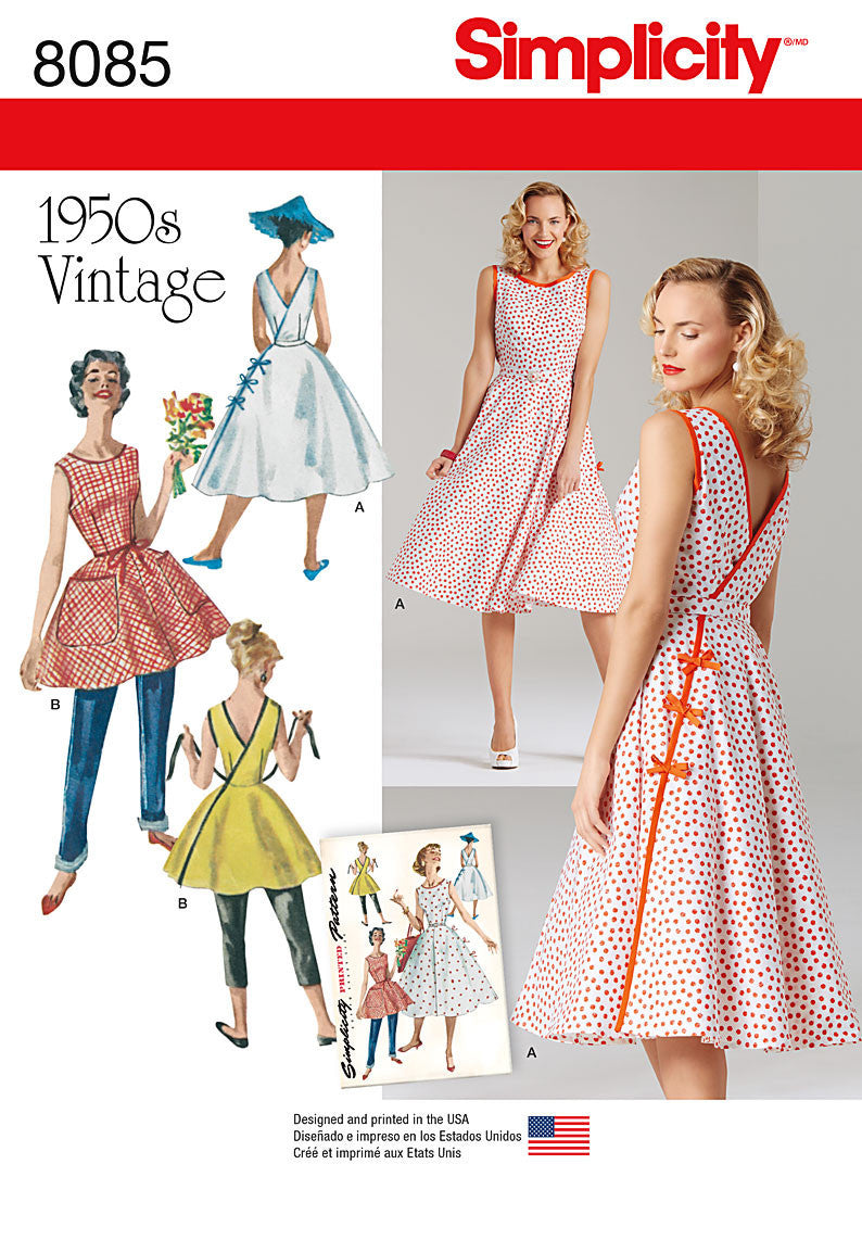 Simplicity S8085  Misses' Vintage 1950's Wrap Dress in Two Lengths