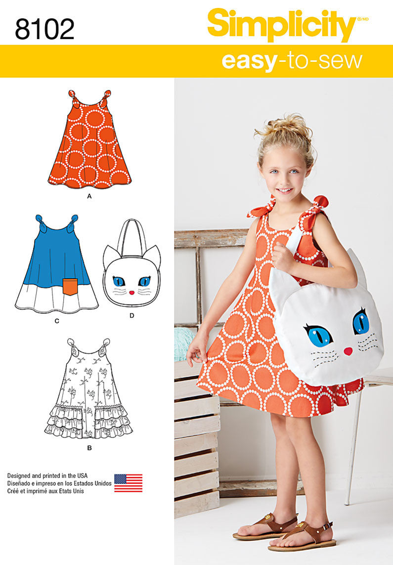 Simplicity S8102 Child's Easy-to-Sew Sundress and Kitty Tote