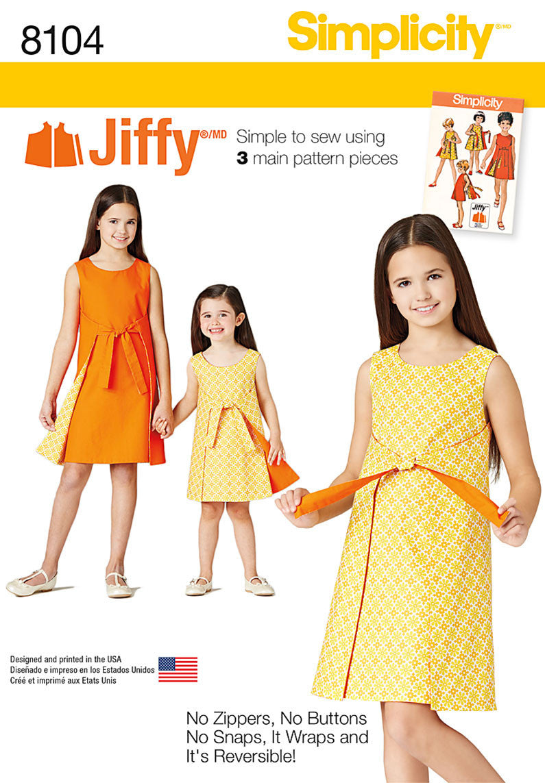 Simplicity S8104 Child's and Girls' Jiffy Reversible Wrap Dress