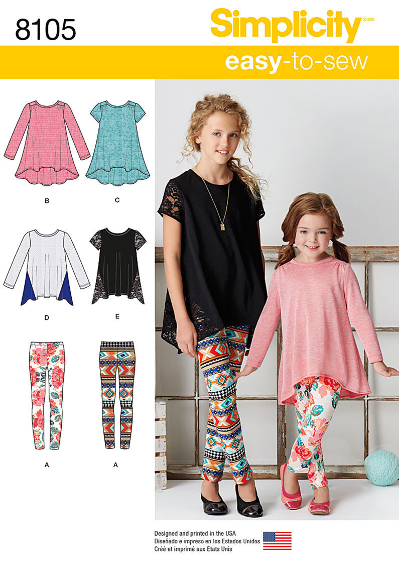 Simplicity S8105 Child's and Girls' Knit Tunics and Leggings
