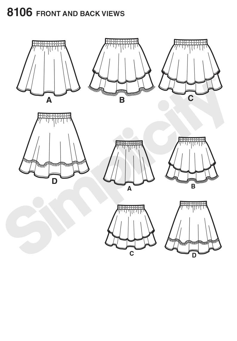 Simplicity S8106 Learn To Sew Skirts for Girls and Girls Plus