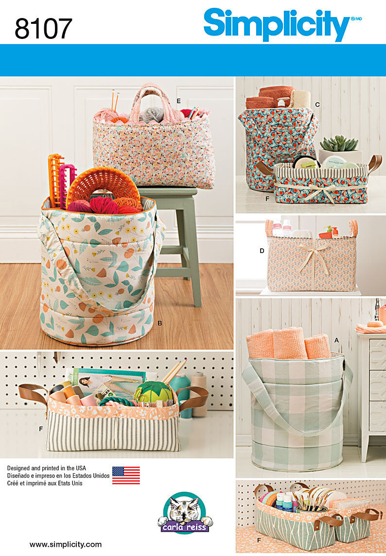 Simplicity Pattern 8107  Fabric buckets, baskets and totes from Jaycotts Sewing Supplies